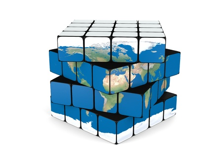 Concept of planet Earth made of twisting cubes, isolated on white background. Banque d'images