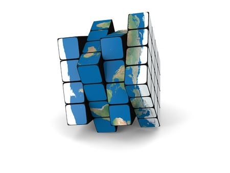 cube puzzle: Concept of planet Earth made of cubes, isolated on white background.