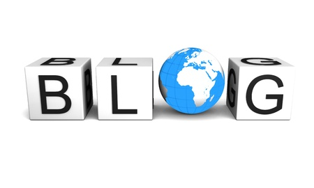 Concept of global blog isolated on white background.