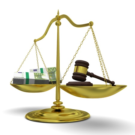 Concept of profits versus justice, with golden scale isolated on white background photo