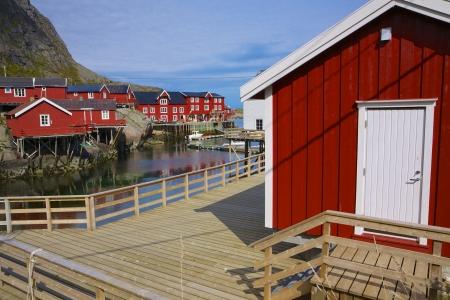 rorbu: Typical red rorbu fishing huts on Lofoten islands in Norway