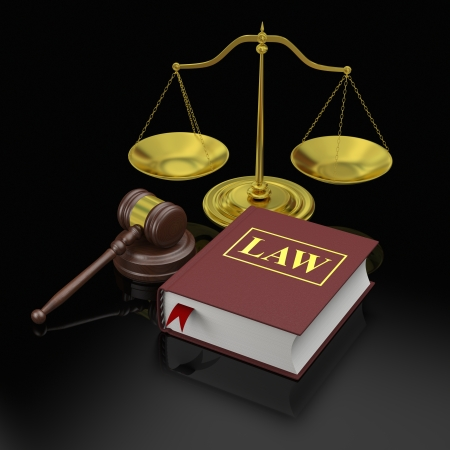 golden rule: Gavel, scale and law book, symbols of law and justice Stock Photo