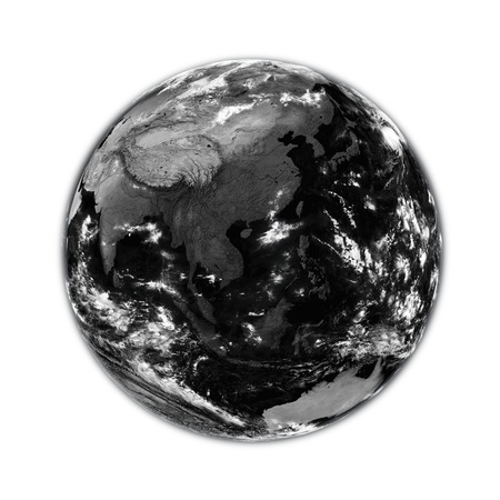 southeast: Southeast Asia on black planet Earth isolated on white background. Elements of this image furnished by NASA. Stock Photo