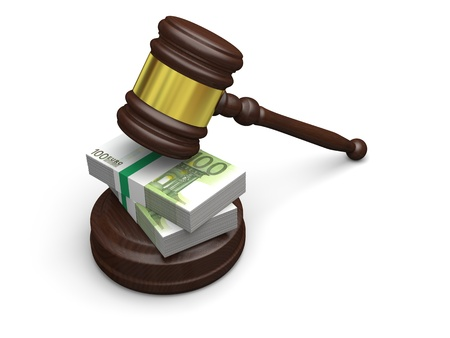 bribery: Money in justice, concept of high legal fees, corruption of financial law Stock Photo