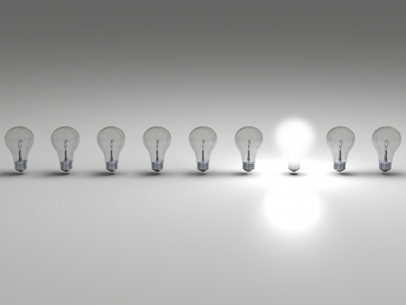 light chains: Row of lightbulbs, concept of one bright idea