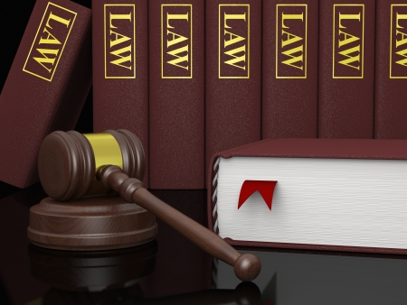 literature: Gavel and law books, symbols of law and legal literature