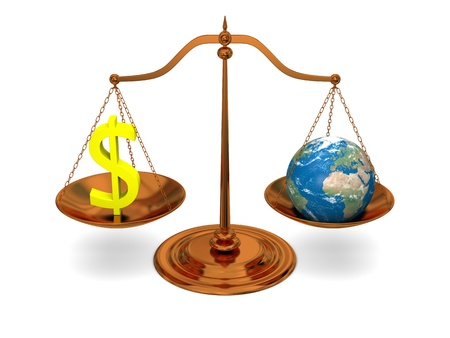 extortion: Justice in world of money, bronze scale with planet and dollar sign, isolated on white background