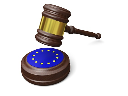 Gavel and symbol of European Union isolated on white background, concept of european law photo