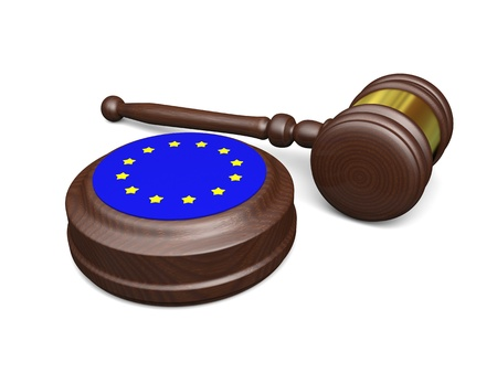 judgments: Gavel and symbol of European Union isolated on white background, concept of european law Stock Photo