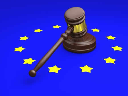 Gavel and symbol of European Union, concept of european law photo