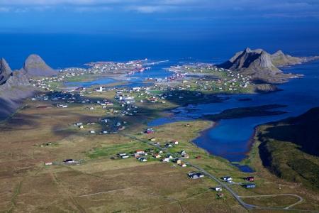Aerial view of norwegian fishing town of Sorland on island Vaeroy, Lofoten islands