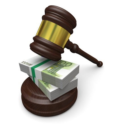 Money in justice, concept of high legal fees, corruption of financial law Stockfoto