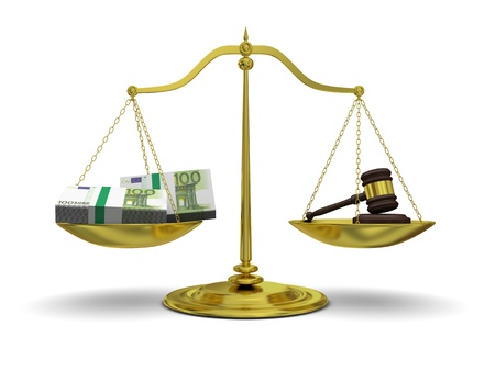 extortion: Concept of profits versus justice, with golden scale isolated on white background