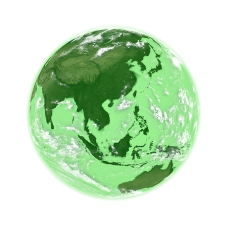 southeast: Southeast Asia on green planet Earth isolated on white background.