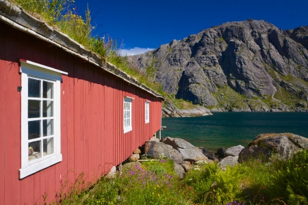 fishing hut: Traditional old red fishing hut with green roof in picturesque village of Nusfjord on Lofoten islands, Norway