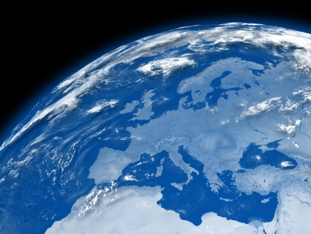 map of europe: Europe on blue planet Earth isolated on black background. Stock Photo