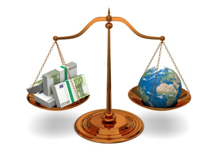 Justice in world of money, concept of justice and corruption.  photo