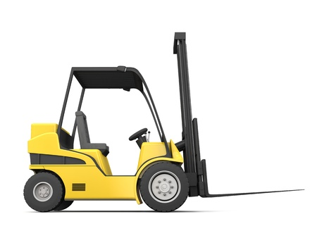 Modern yellow forklift isolated on white background