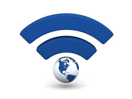 wireless hot spot: Blue WiFi symbol with planet Earth isolated on white background.