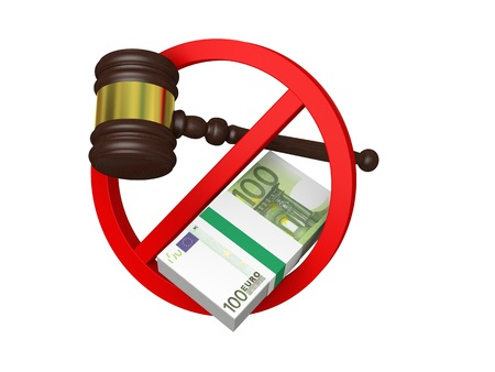 laundering: Concept of stopping corruption in Europe with wooden gavel, pile of Euro bank notes and stop sign, isolated on white background