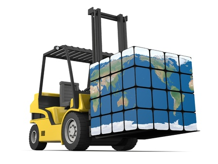 Concept of global transportation, modern yellow forklift carrying planet Earth in form of cube, isolated on white background.  Stockfoto