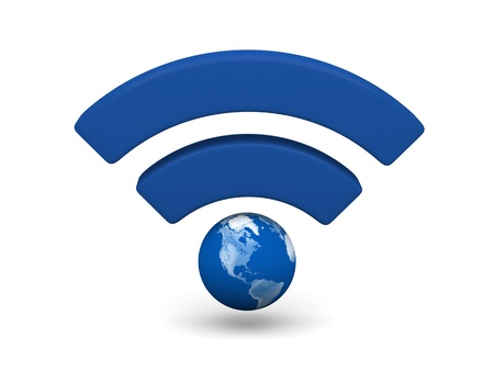 wireless connection: Blue WiFi symbol with planet Earth isolated on white background.