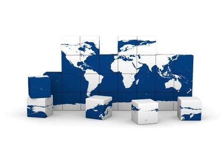 World map made of cubes isolated on white background. photo