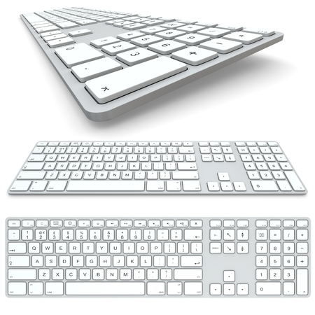 alphabet keyboard: Computer keyboard isolated on white background. Top view, frontal view and close up.