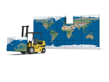 Concept of International logistics, modern yellow forklift carrying piece of global map, isolated on white background. Elements of this image furnished by NASA. Stock Photo