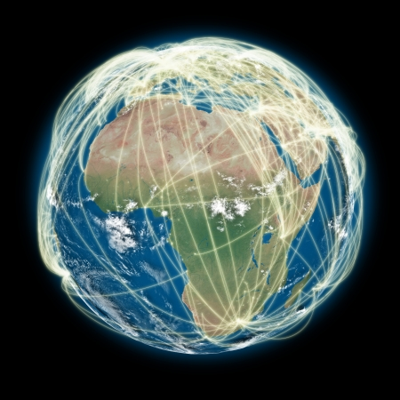 Africa on planet Earth with connections between cities and continents representing global airline networks. Elements of this image furnished by NASA photo