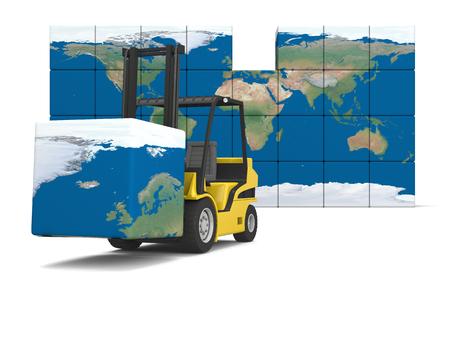 forklift truck: Concept of International logistics, modern yellow forklift carrying piece of global map