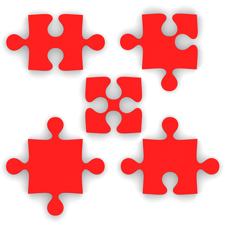 cut off: Red puzzle pieces isolated on white background. Pieces fit together nicely when cut off.