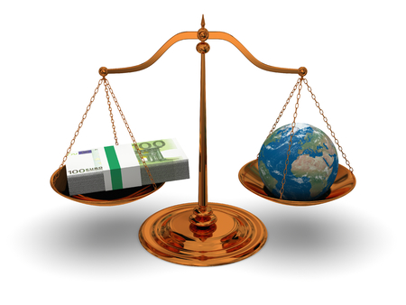 Justice in world of money, concept of justice and corruption.  Stock Photo