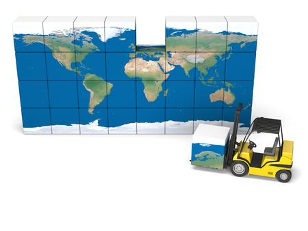Concept of International logistics, modern yellow forklift carrying piece of global map photo