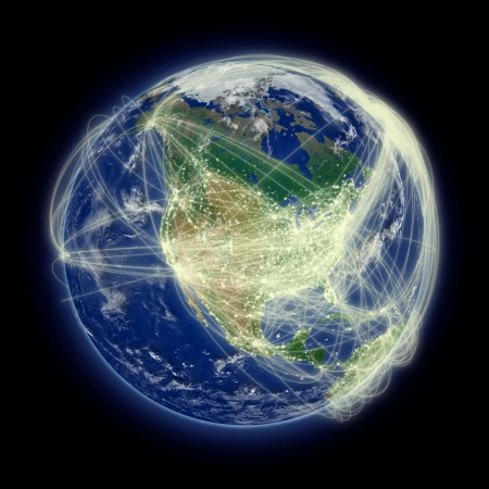 furnished: Network of flight paths over North America. Highly detailed planet surface. Elements of this image furnished by NASA. Stock Photo