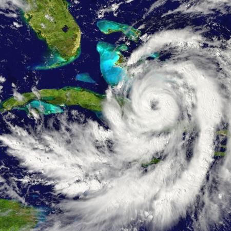 estado del tiempo: Enorme huracán que se aproxima la Florida en los Estados Unidos Foto de archivo