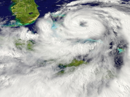 disaster: Huge hurricane approaching Florida in America Stock Photo