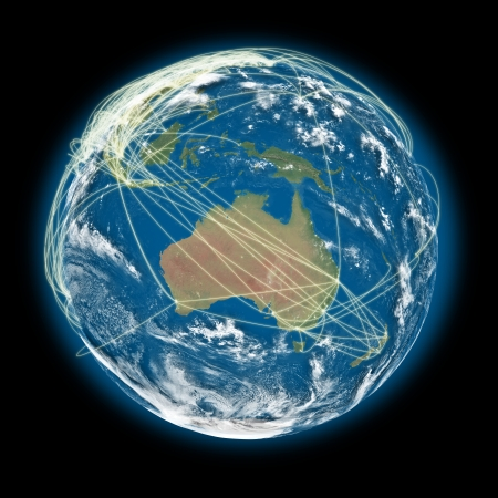Australia on planet Earth with connections between cities and continents representing global airline networks photo