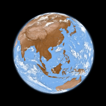 southeast: Southeast Asia on planet Earth isolated on black background Stock Photo