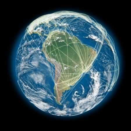South America on planet Earth with connections between cities and continents representing global airline networks.  photo