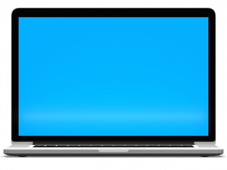 Laptop computer blank blue screen isolated on white background photo