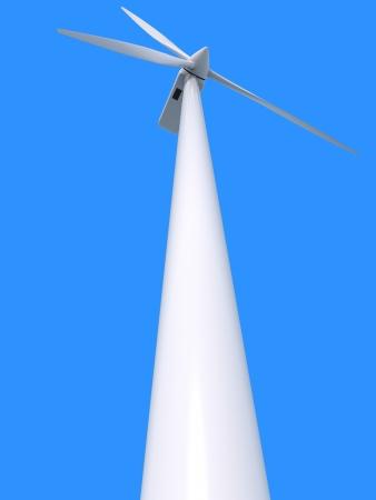 Wind power generator on blue background photo