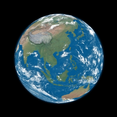 southeast: Southeast Asia on blue planet Earth isolated on black background.  Stock Photo