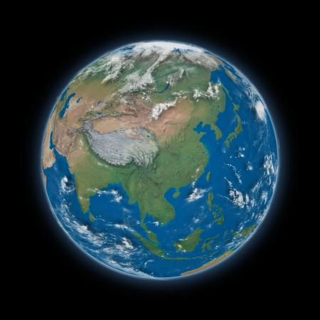 himalayas: Southeast Asia on blue planet Earth isolated on black background. Highly detailed planet surface.  Stock Photo