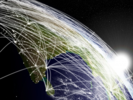 宇宙から見たインドの亜大陸に昇る太陽を持つネットワークの概念。雲と街の明かりと非常に詳細な惑星の表面。
