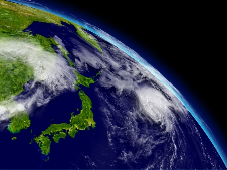kyushu: Japanese islands on planet Earth viewed from space. Highly detailed planet surface and clouds. Stock Photo