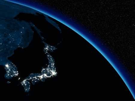 honshu: Japanese islands at night on planet Earth viewed from space. Highly detailed planet surface with city lights.