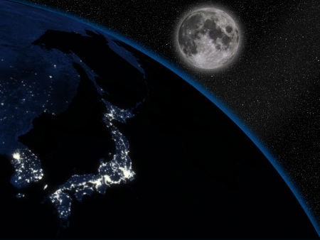 Japanese islands at night on planet Earth viewed from space. Highly detailed planet surface with city lights and big bright Moon.