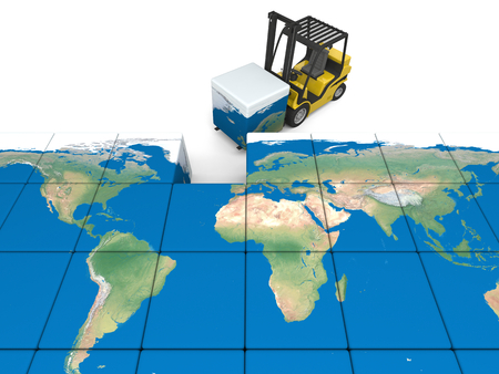 Concept of global transportation, modern yellow forklift carrying piece of global map, isolated on white background.      photo