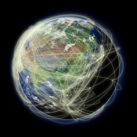 Network of flight paths over Asia on blue planet Earth isolated on black background. Highly detailed planet surface. photo